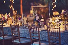 vintage wedding inspiration - different lace tablecloths on long table