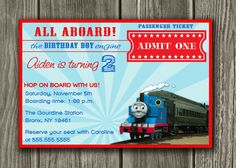 Thomas the Train Inspired Invitation - FREE thank you card included