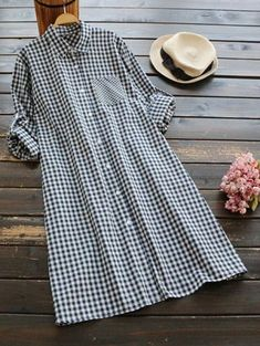 SHARE & Get it FREE | Button Up Checked Pocket Shirt Dress - Purplish BlueFor Fashion Lovers only:80,000+ Items • New Arrivals Daily Join Zaful: Get YOUR $50 NOW!