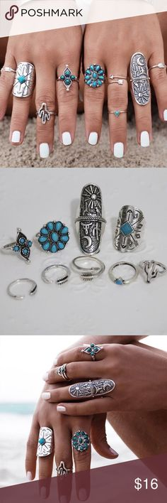 """9 Vintage Turkish Turquoise Silver Boho Midi Ring This brand new 9 piece ring set is beautiful and fun!  Whether your style is Tribal, Punk, Bohemian, Beach, Hippie, Gypsy or Country, this is the set is perfect!  Rings vary from size 4 to 7 3/4.  Longest ring is 1 3/4"""" long.  Brilliant silver tone with faux turquoise embellishment.  Bundle with similar bracelets or other items found in our listings for 15% off the bundle and only one Posh ship fee.   Price includes all rings Shown plus a…"""