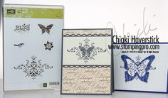 Really like the way the fancy swirly stamp was stamped over the butterfly on the blue and white card