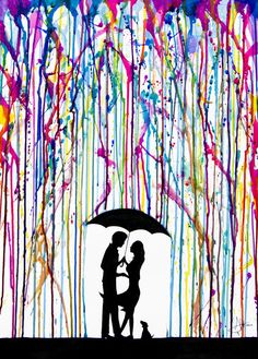 Two Step - Stretched Canvas - Rainbow rain, couple with dog,