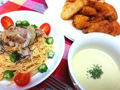 ポテトとフライドチキンわ、手作りでわございません。 - 8件のもぐもぐ - 豚とオクラの冷製パスタ&枝豆ヴィシソワーズ by bakanekochibi