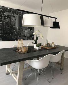 Salon, Yemek Odası, Aydınlatma, Avize, Siyah-beyaz, Tablo Decor, Furniture, Room, Interior, Dining, Dining Table, Table, Home Decor, Interior Design