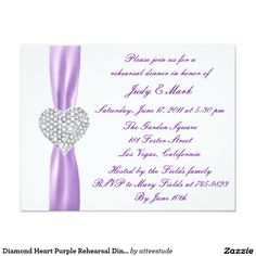 Diamond Heart Purple Rehearsal Dinner Invitation
