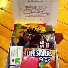 ,my kind of New Mom Survival Kit anyone who knows me knows they better not come visit without bringing candy!!!