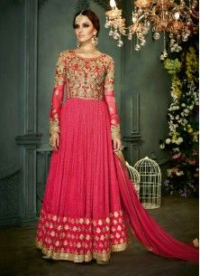 Net Embroidered Vehemently Hot Pink Suit