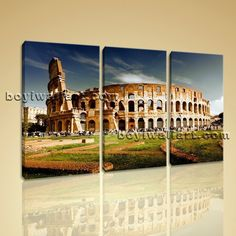 """Rome Colosseum Large Landscape Picture Canvas Wall Art Print World Attraction Extra Large Wall Art, Gallery Wrapped, by Bo Yi Gallery 44""""x28"""". Rome Colosseum Large Landscape Picture Canvas Wall Art Print World Attraction Subject : Historic Style : Photography Panels : 3 Detail Size : 14""""x28""""x3 Overall Size : 44""""x28"""" = 112cm x 71cm Medium : Giclee Print On Canvas Condition : Brand New Frames : Gallery wrapped [FEATURES] Lightweight and easy to hang. High revolution giclee…"""