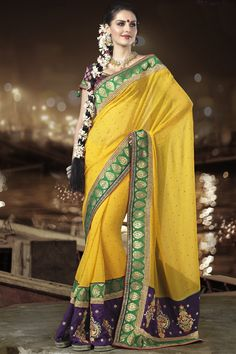 Outstanding georgette saree in yellow