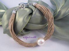 collar de lino y gran perla única collar de lino y gran perla única
