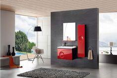 Meuble salle de bain une vasque rouge laqué brillant, 75 cm, INAE ROUGE