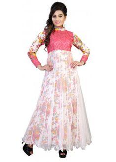 Party Wear Multicolour Net Gown - Swity2007