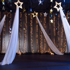 10 in. Gold Hanging Shooting Stars with Fabric 1 ft. 10 in. Gold Hanging Shooting Stars with F Star Wars Party, Star Party, Dance Themes, Prom Themes, Starry Night Prom, Starry Nights, Night To Shine, Decoration Vitrine, Prom Decor
