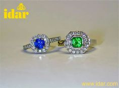 Sapphire and emerald halo rings by idar.