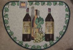 Merlot Chablis Wine Bottles Tapestry Kitchen Mat Slice Rug 19 x 27 #Unbranded #Novelty