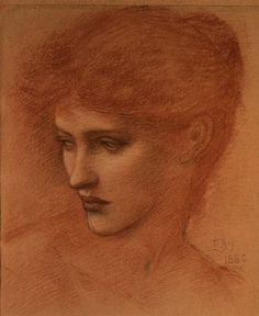 Study of a Female Head from the V&A collection. Study of a Female Head, Sir Edward Burne-Jones red chalk drawing on paper, England 1889 Life Drawing, Painting & Drawing, John Everett Millais, Edward Burne Jones, Pre Raphaelite Brotherhood, Female Head, Wow Art, You Draw, Arts And Crafts Movement