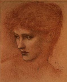 Edward Burne-Jones ~ Study of a Female Head, 1889