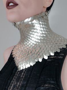 The Scales Classic neck corset/posture collar. Shown with champagne coloured scales. Available by custom order. Posture Collar, Female Armor, Neck Piece, Champagne Color, Collar And Cuff, Wearable Art, Most Beautiful Pictures, Corset, Collars