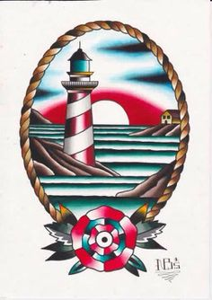Nitrobolts Lighthouse Tattoo Flash