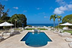 High Breeze on Barbados has a Grecian Roman inspired pool facing the ocean.