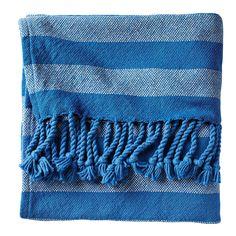 Cobalt Awning Stripe Throw | Serena & Lily