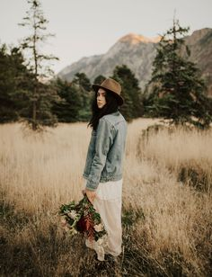 Rocky Mountains Anniversary // white lace dress with a denim levi's jacket and fedora // outfit for casual cool hipster photoshoot