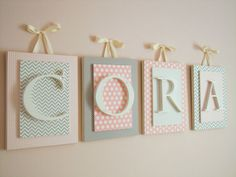 Pink and Cream Nursery Letters Nursery Letters for