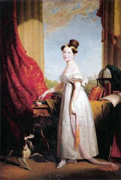 Princess Victoria with her spaniel Dash, 1833 Painting by George Hayte