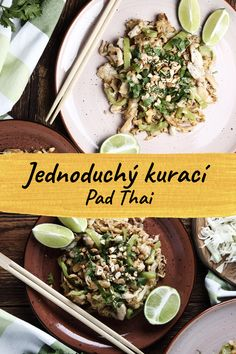 If you like the tastes of exotics, you have to try this healthy and easy chicken pad thai for sure. It is a meal with delicious taste, but at the same time, a diet meal with a g. Tofu, Pollo Pad Thai, Recipes With Chicken Meat, Pad Thai Huhn, Thai Street Food, Rich In Protein, Light Recipes, Food Videos, Tasty