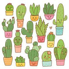 Conjunto de planta de cactus en kawaii V. Cactus Doodle, Cactus Art, Cactus Plants, Green Cactus, Cactus Decor, Indoor Cactus, Succulent Planters, Succulent Arrangements, Hanging Planters