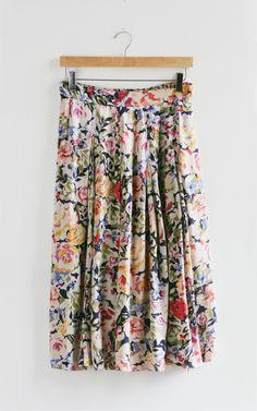 Vintage Bold Floral Skirt — Everything Golden