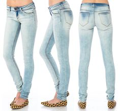 "Boomer Skinny Jeans :: Sale $14.50, Retail $36 | shopsosie.com :: [7.5"" rise, 31.5"" inseam, 10"" leg opening] Skinny jeans featuring 5-pocket styling and a single-button closure. Fading throughout. Stretch fabric. (80% cotton, 18% polyester, 2% spandex) :: I normally don't care for jeans like these, but the fading is really subtle & quite unique on these. I was looking for light wash jeans & happened to stumble across this steal!"