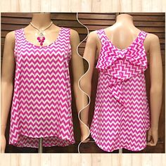 Pink Chevron Waterfall & Bow Back Tank Offer $3 under list price so we can split the cost of shipping! Like new! Adorable & unique tank top with white base, pink zigzag print, bow and waterfall back, scoop neckline, and high-low hang. Excellent pre-loved condition!⭐️⭐️⭐️⭐️⭐ It is the BUYER'S responsibility to ensure an item will fit.  ✅ASK QUESTIONS ✅Bundle ✅Offers ❌NO Trades ❌NO Off-Site Transactions Moa Moa Tops Tank Tops