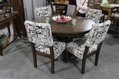 For a less formal setting I love this small table with fabric chairs. Perfect for a small dining area or a cozy breakfast nook. American Gothic, American Made, Dining Chairs, Dining Table, Solid Wood Furniture, Wood Pieces, Made In America, Home Decor Accessories, Furniture Making