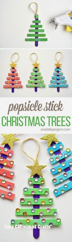 Christmas DIY: These popsicle stick These popsicle stick Christmas trees are SO EASY to make and they're so beautiful! The kids loved decorating them! Such an awesome dollar store Christmas craft idea! Christmas Activities, Christmas Crafts For Kids, Homemade Christmas, Christmas Art, Christmas Projects, Holiday Crafts, Christmas Holidays, Christmas Gifts, Preschool Christmas