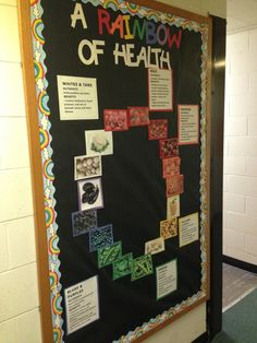 Healthy Eating bulletin board for August 2013 - by Taylor, Prentiss-Lucas Cafeteria Bulletin Boards, Rainbow Bulletin Boards, Nurse Bulletin Board, College Bulletin Boards, Health Class, School Health, Health Education, Health Teacher, Health Unit