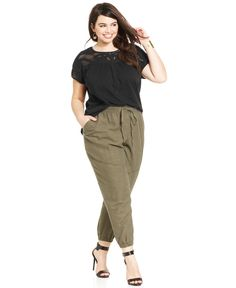 Lucky Brand Plus Size Crocheted Illusion Top & Linen-Blend Jogger Pants - Trendy Plus Sizes - Plus Sizes - Macy's