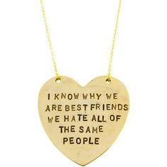 "Alisa Michelle ""Best Friends"" Necklace ($25) ❤ liked on Polyvore featuring jewelry, necklaces, accessories, heart jewelry, pendant chain necklace, heart shaped jewelry, chain necklaces and heart pendant jewelry"