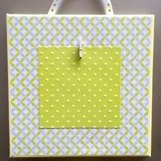 Colored Stretched Canvas 8x8 lime green/grey/geometric design