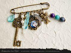 portrait cameo shabby brooch Blue art jewelry by AlessandraLuxRedi