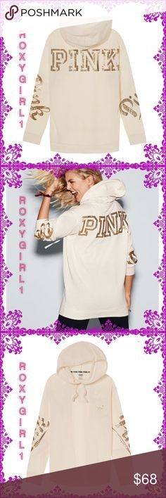 PINK BLING CAMPUS PULLOVER PINK BLING CAMPUS PULLOVER in Winter White Online Exclusive  RARE & HTF Get it or regret it! A campus classic with a bling graphics and kangaroo pocket. This comfy hoodie is tunic length and perfect for pairing with leggings. Only by Victoria's Secret PINK  Oversized Tunic length Front  pocket Bling  graphics ❌NO TRADE❌ ✅PRICE FIRM UNLESS BUNDLED✅ PINK Victoria's Secret Tops Sweatshirts & Hoodies