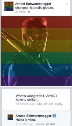 <p>KLART SVAR: Slik svarte Arnold Schwarzenegger da en fan reagerte på hans homorettighet-hyllende profilbilde.<br/></p>