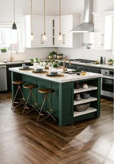 There is no question that designing a new kitchen layout for a large kitchen is much easier than for a small kitchen. A large kitchen provides a designer with adequate space to incorporate many convenient kitchen accessories such as wall ovens, raised. Kitchen Style, Simple Kitchen, Green Kitchen Island, Kitchen Decor Inspiration, Diy Kitchen Remodel, Kitchen Design, Kitchen Room, Kitchen Remodel, Contemporary Kitchen