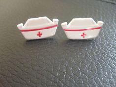 50's Nurse Hat Stud Earrings by IrisJane on Etsy