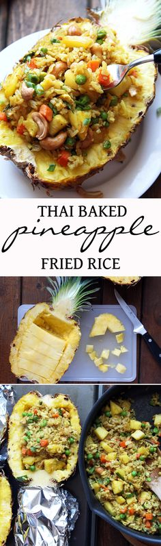 Thai Baked Pineapple Fried Rice - perfect for a romantic Valentine& dinner . I Love Food, Good Food, Yummy Food, Tasty, Vegetarian Recipes, Cooking Recipes, Healthy Recipes, Thai Cooking, Pineapple Fried Rice