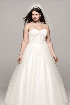Strapless Ballgown with Lace Corset, David's Bridal | 31 Jaw-Dropping Plus-Size Wedding Dresses