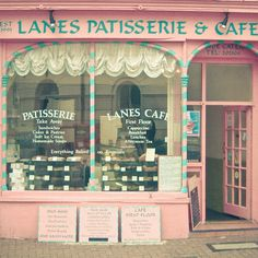 Travel Photography Cafe Photo Turquoise and Pink von LolasRoom