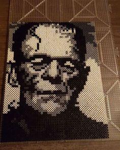 Frankenstein portrait perler beads by wallsjohnny Pearler Bead Patterns, Perler Patterns, Pearler Beads, Fuse Beads, Beaded Cross Stitch, Cross Stitch Patterns, Pixel Art, Melty Bead Designs, Frankenstein