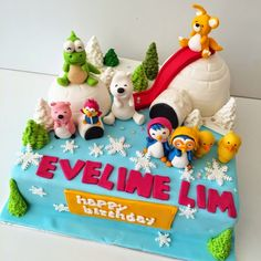made by Siany: Pororo and friends cake in snowy iglo cake for eveline birthday