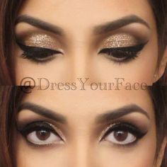 prom makeup for black and gold dress - Google Search
